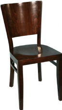 Burbank Wooden Wenge Side Chair with Wedge Shaped Back